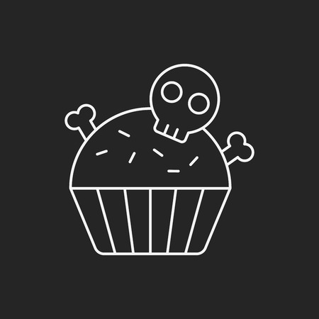 fruits background: halloween cupcake line icon Illustration