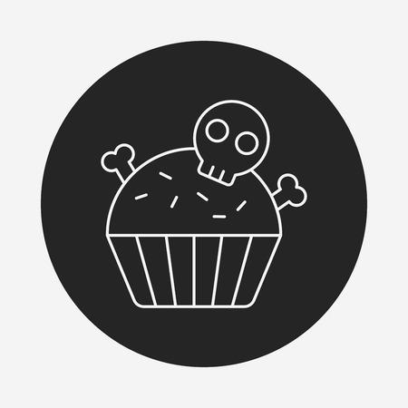 halloween cupcake line icon Vector