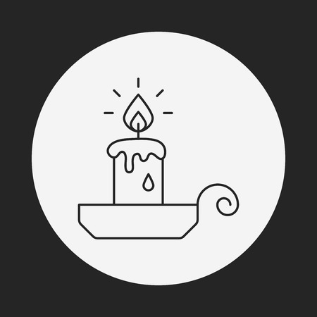 long night: halloween candle line icon