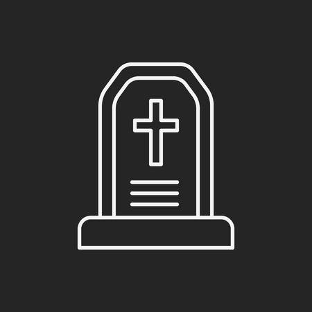 rest in peace: halloween grave line icon