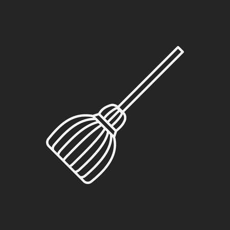 witch broom line icon Illustration
