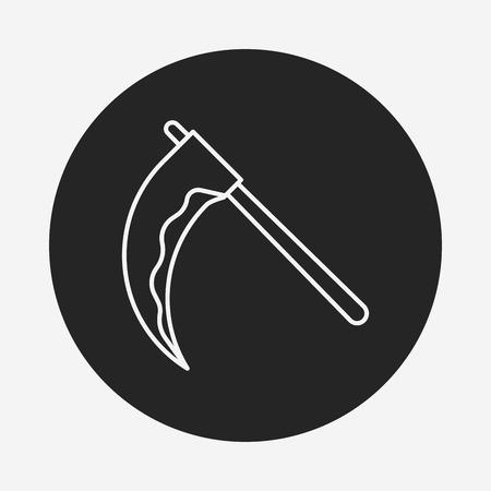 guadaña: icono de Halloween línea guadaña