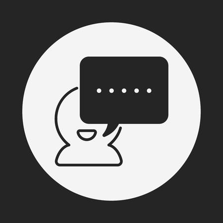 black lady talking: office conversation icon Illustration