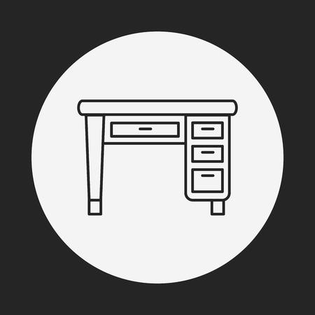 tabletop: desk line icon Illustration