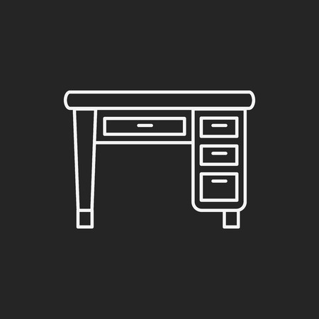 black and white background: desk line icon Illustration