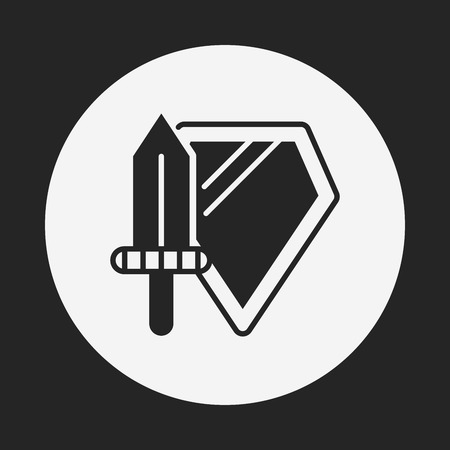 shield and sword: toy Sword and shield icon Illustration
