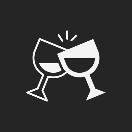 champagne cups: birthday drink icon Illustration