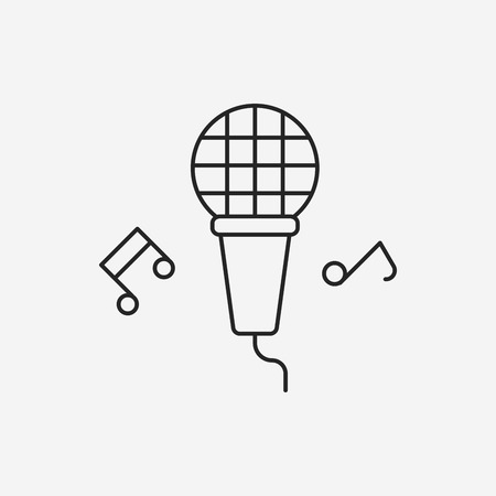 birthday party: birthday party microphone line icon