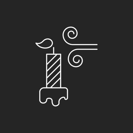 burning candle: birthday candle line icon