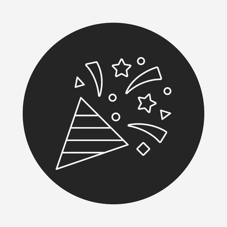 ribbon: birthday ribbon line icon Illustration