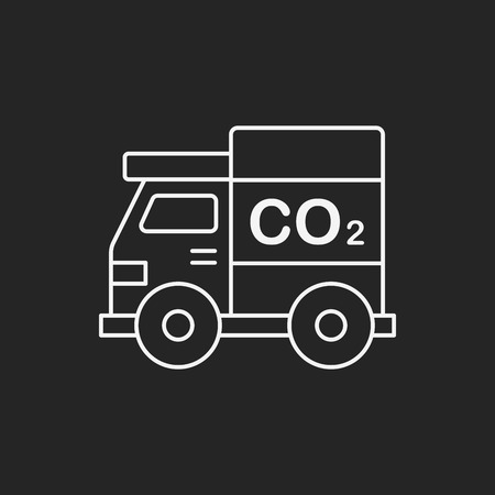 co2: Environmental protection concept green car line icon Illustration