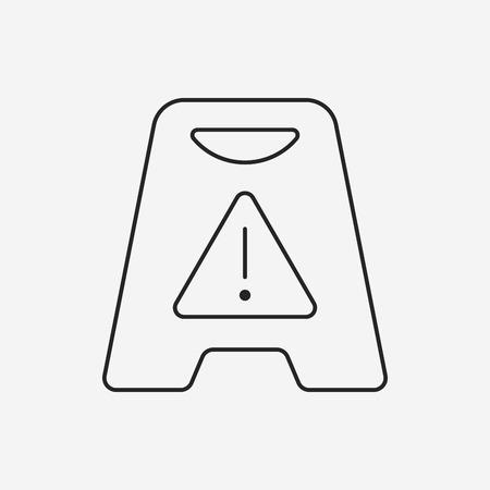 wet floor: caution wet floor line icon