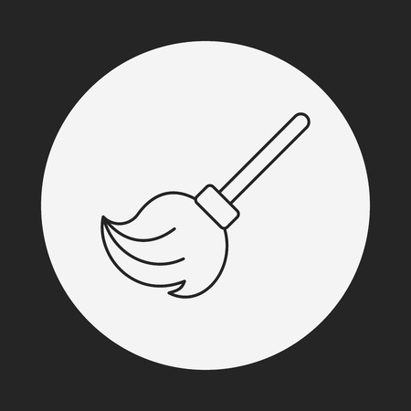 cleaner vacuuming symbol: cleaning brush line icon