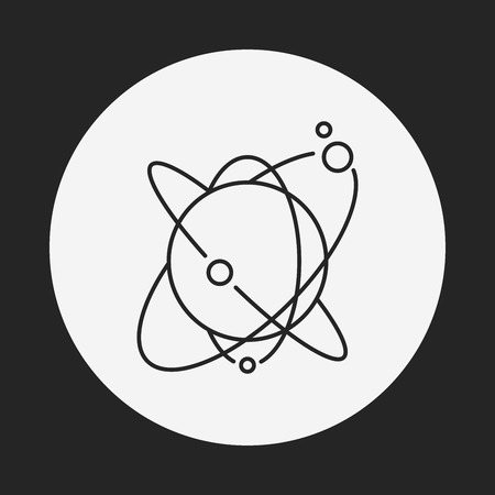 solar system: Space planet line icon