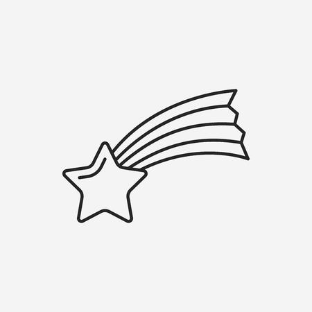 meteoric: Space meteoric stone line icon