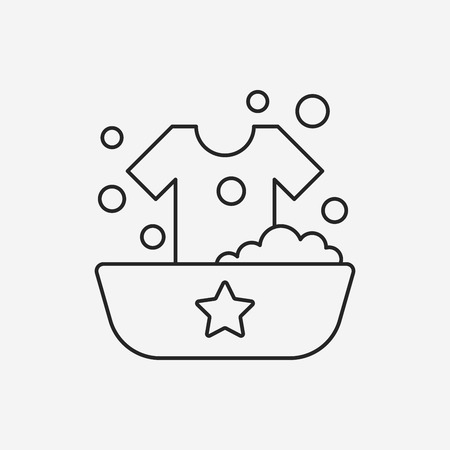 washing clothes: Washing clothes line icon Illustration