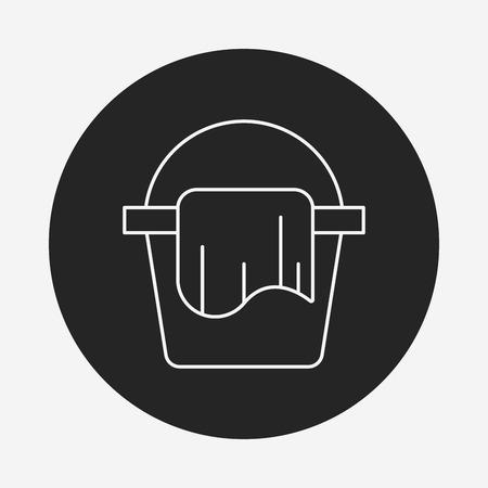 bucketful: water bucket line icon Illustration