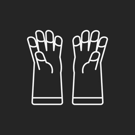 rubber glove: cleaning gloves line icon