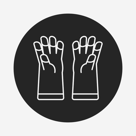 cleaner vacuuming symbol: cleaning gloves line icon