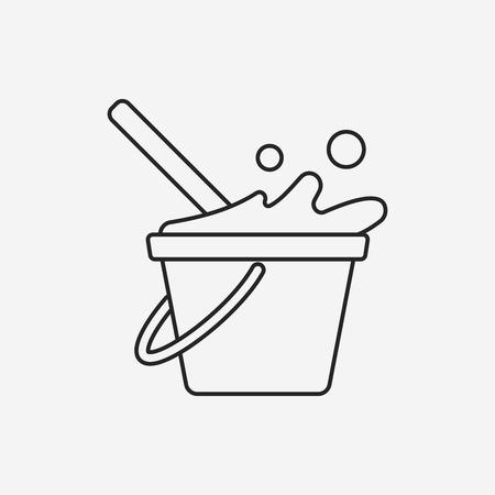 bucket water: icono de l�nea cubo de agua Vectores