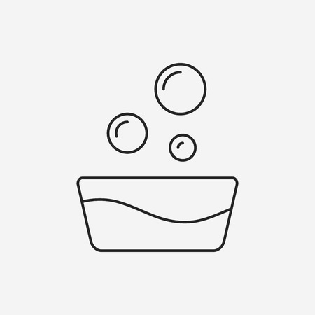cleanup: water bucket line icon Illustration