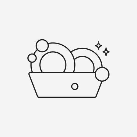 washing dishes line icon