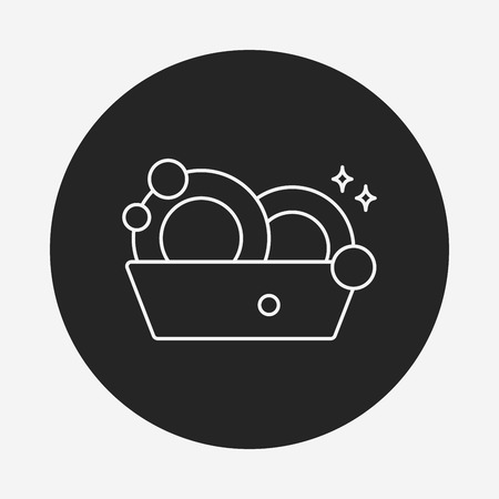 dishes: washing dishes line icon