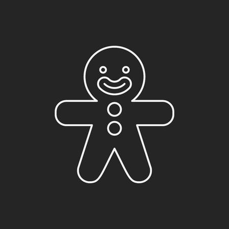 gingerbread man: gingerbread man line icon Illustration