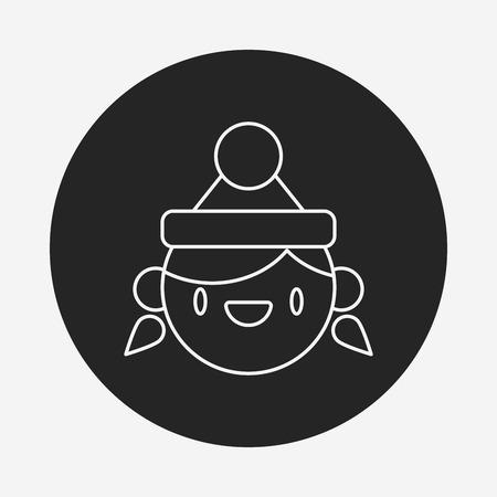 christmas icon: Christmas person line icon