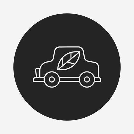 car leaf: Environmental protection concept green car line icon Illustration
