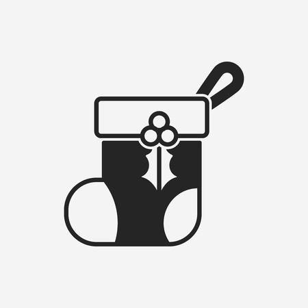 white stockings: Christmas socks icon Illustration