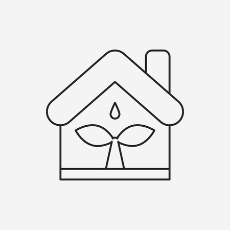 greenhouses: Environmental protection concept greenhouses line icon Illustration