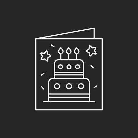 black sign: birthday card line icon