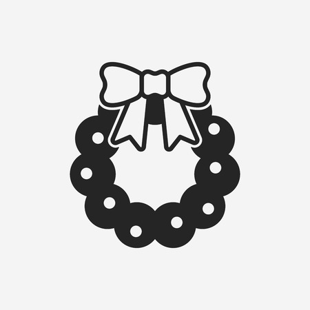 christmas icon: Christmas wreath icon Illustration