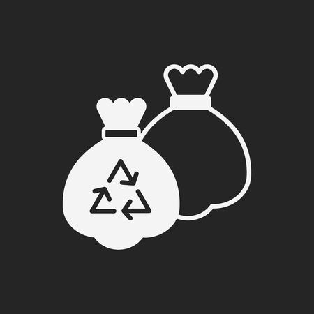 refuse: trash bag icon Illustration