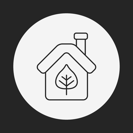 Environmental protection concept greenhouses line icon Vector