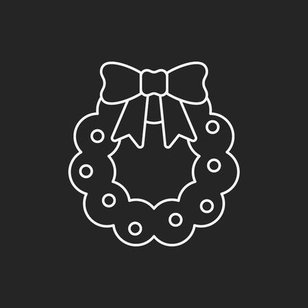 christmas icon: Christmas wreath line icon