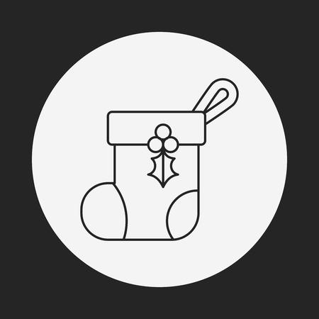 christmas icon: Christmas socks line icon