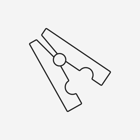 clothespin: Clothespin line icon Illustration