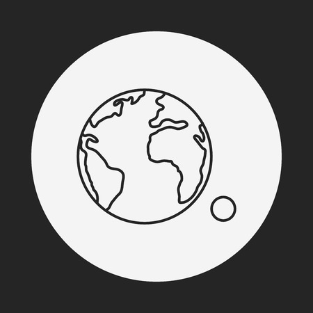 earth from space: Space earth line icon