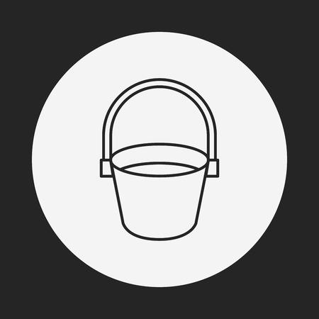 water bucket: water bucket line icon Illustration