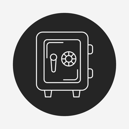 safety box: money safety box line icon