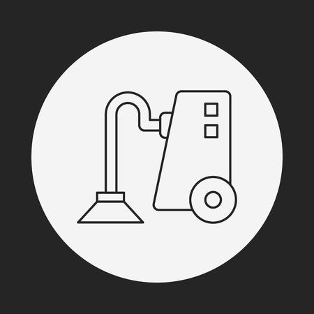 cleaner vacuuming symbol: Vacuum cleaner line icon