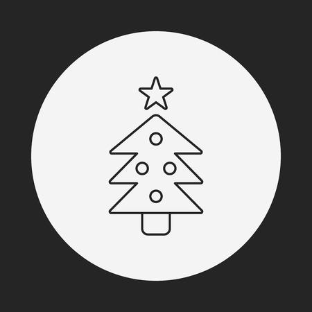 christmas icon: Christmas tree line icon