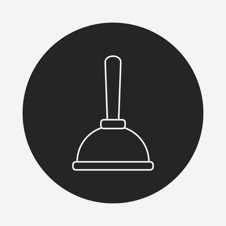 plunger: plunger line icon