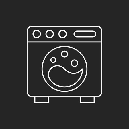 black appliances: washing machine line icon