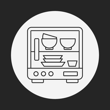 lavaplatos: icono de línea de lavavajillas