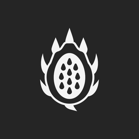 on the black background: dragon fruits icon