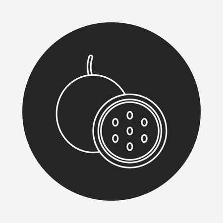 страсть: Passion fruit line icon