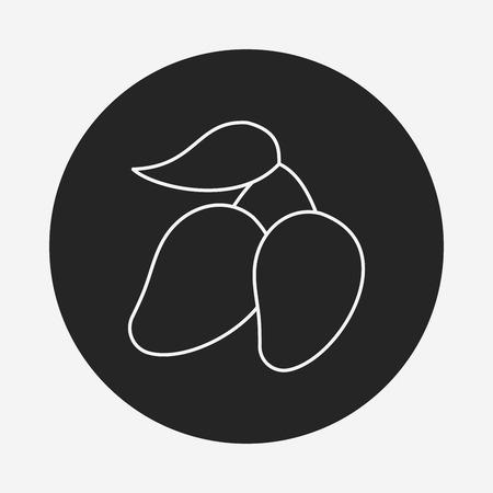 mango slice: fruits mango line icon Illustration